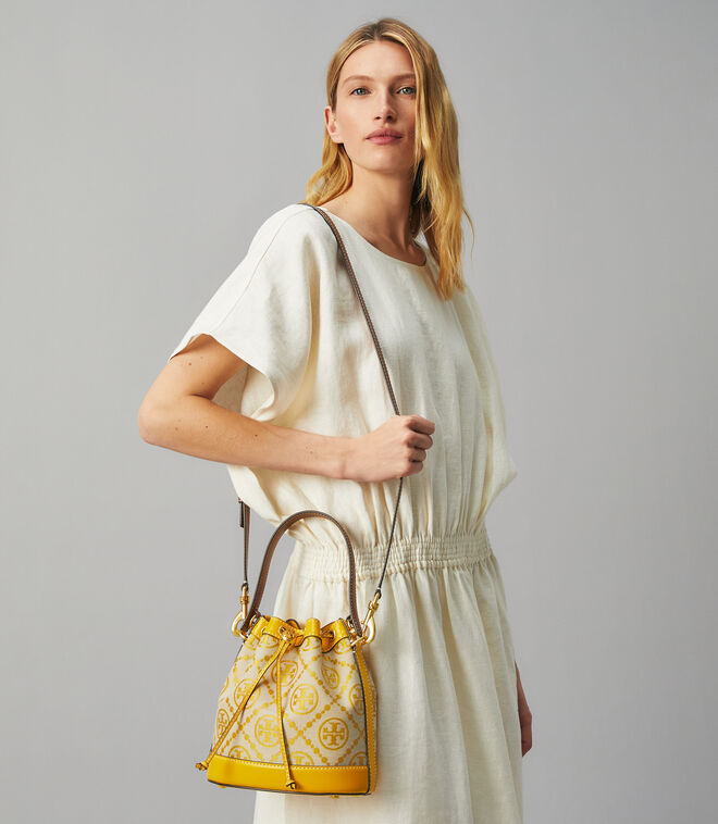T MONOGRAM JACQUARD BUCKET BAG