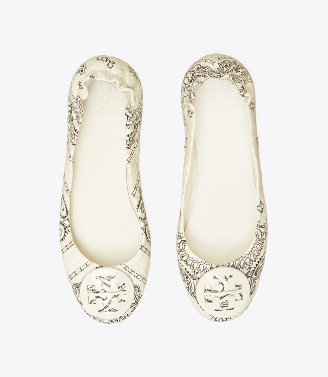 Minnie Quilted Travel Ballet Flat, Leather Logo