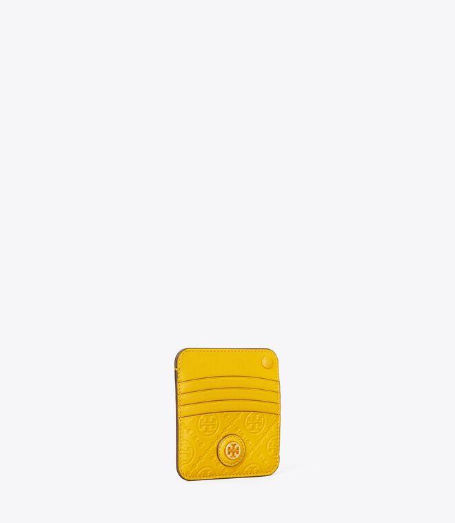 T MONOGRAM LEATHER CARD CASE