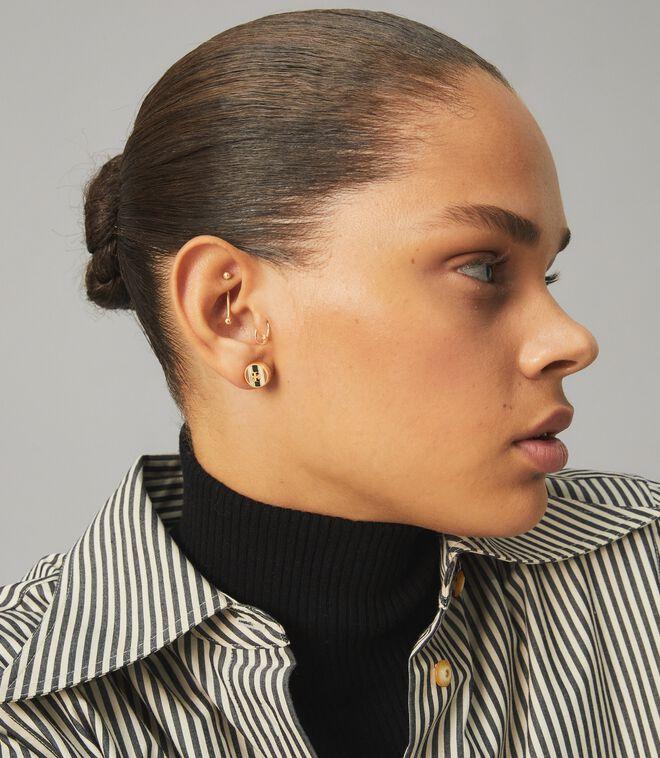 Kira Enamel Striped Circle-Stud Earring