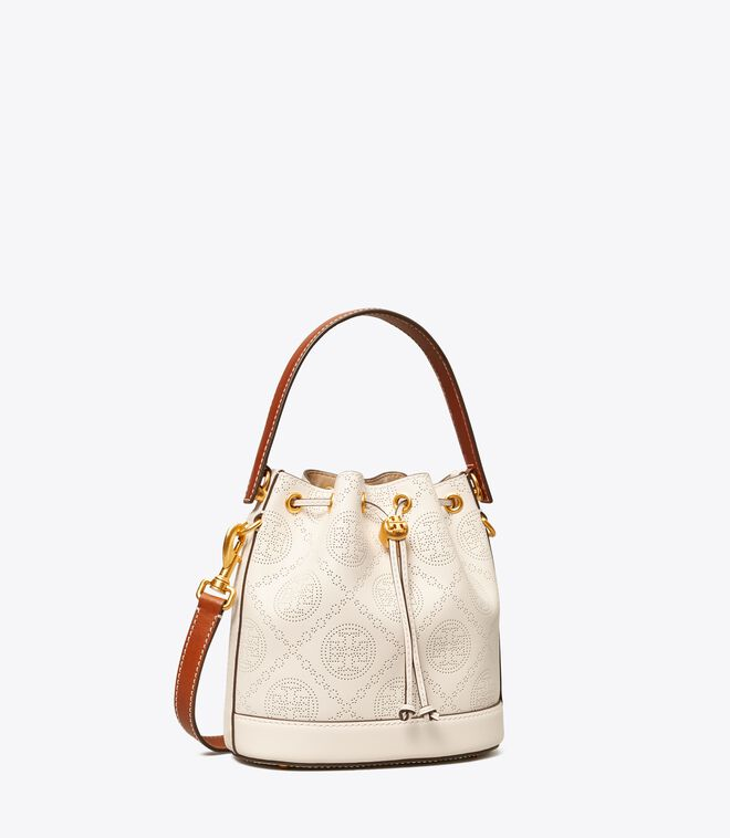 T Monogram Perforated Leather Bucket Bag
