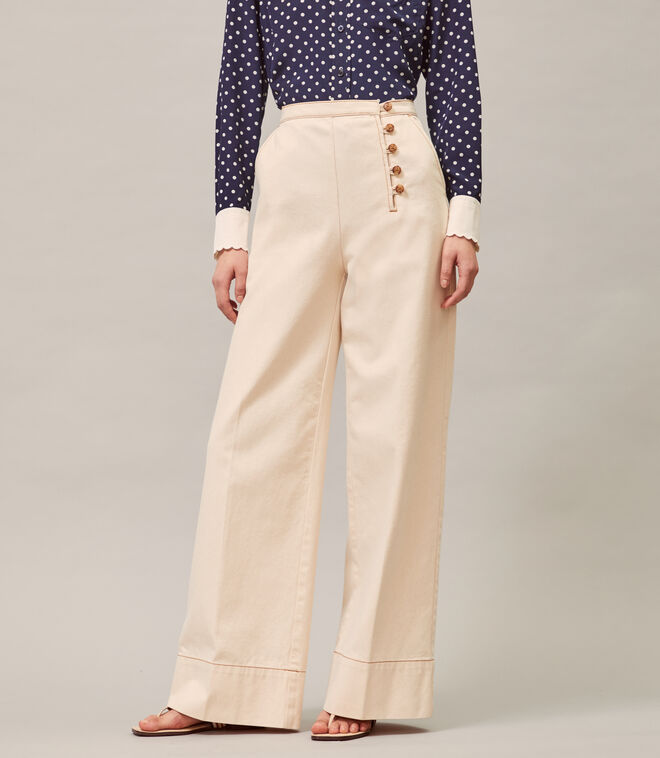 Twill Button-Front Trouser