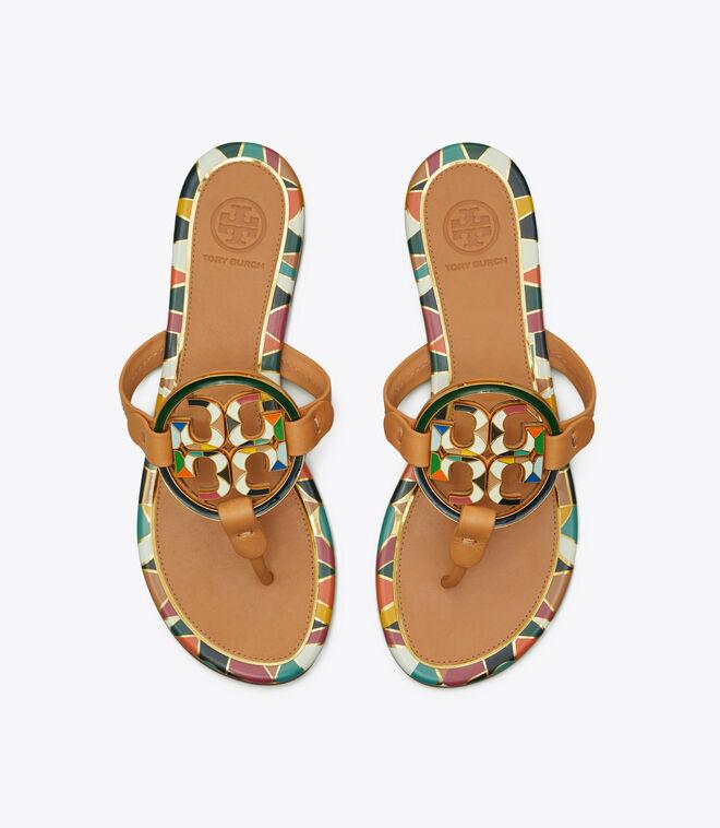 Miller Enamel-Logo Sandal, Leather