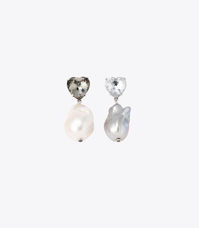 CRYSTAL HEART AND PEARL DROP EARRING   022   Drop Earring