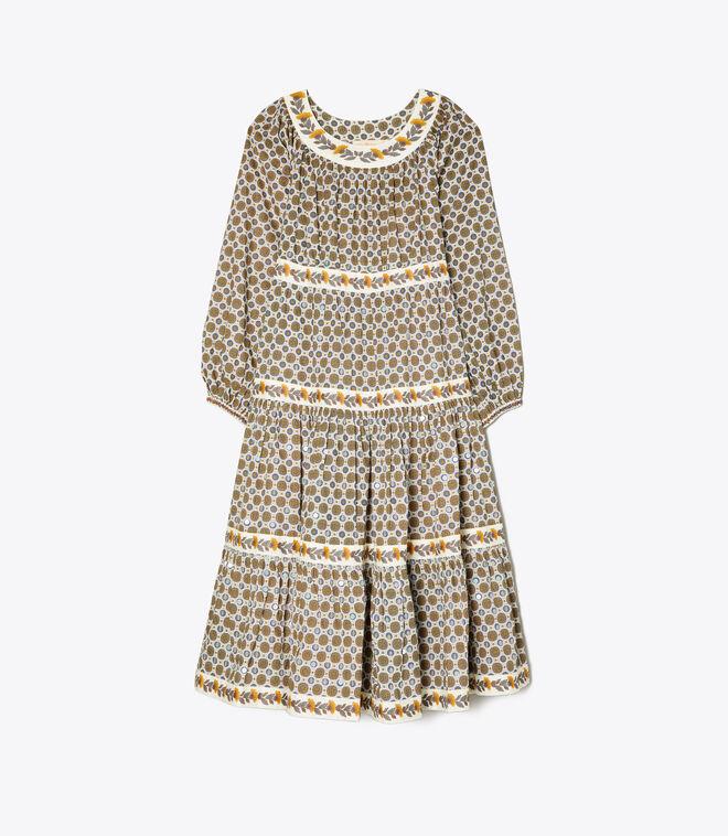Printed Puffed-Sleeve Dress
