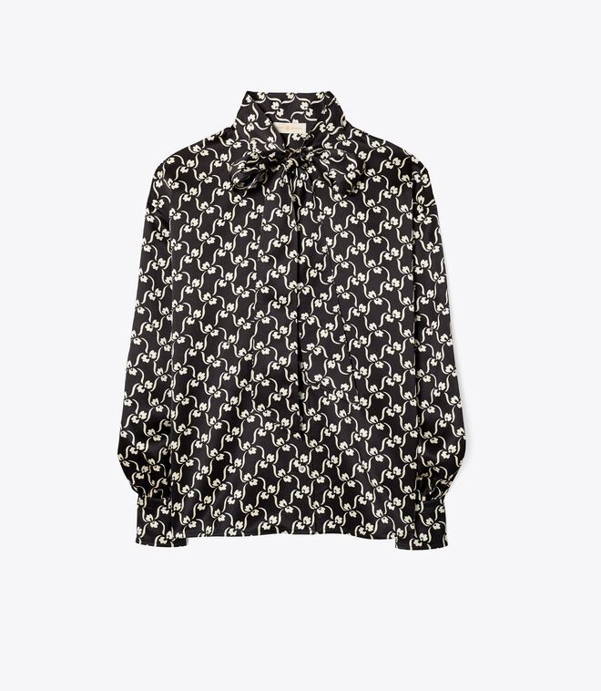 Printed Bow Blouse