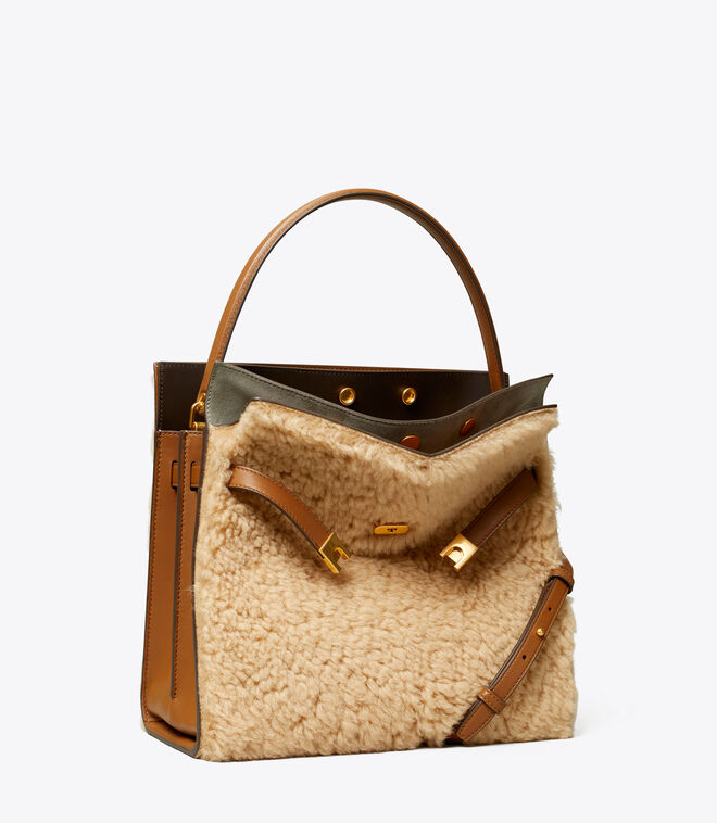 LEE RADZIWILL SHEARLING DOUBLE BAG