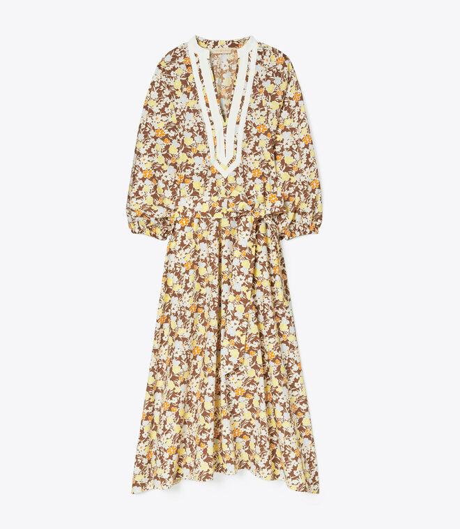 PRINTED BALLOON SLEEVE DRESS