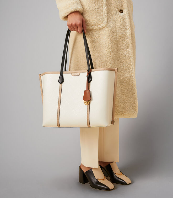PERRY COLOR-BLOCK TRIPLE-COMPARTMENT TOTE