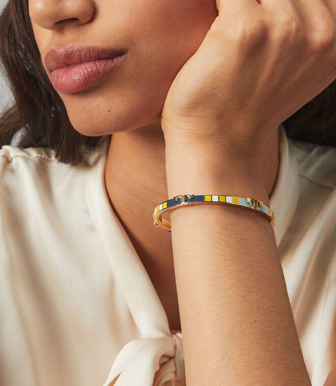 Serif-T Enamel Striped Stackable Bracelet