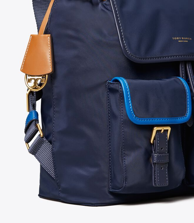 Perry Nylon Color-Block Flap Backpack
