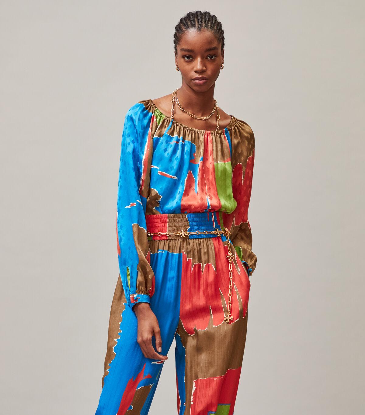 Printed Silk Jacquard Blouse