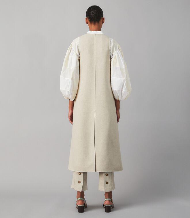 Longline Twill Crepe Vest