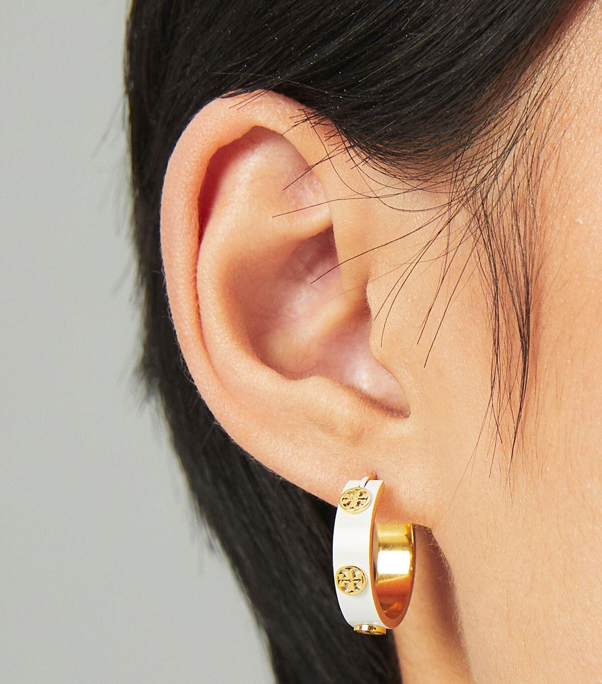 Miller Stud Enamel Hoop Earring