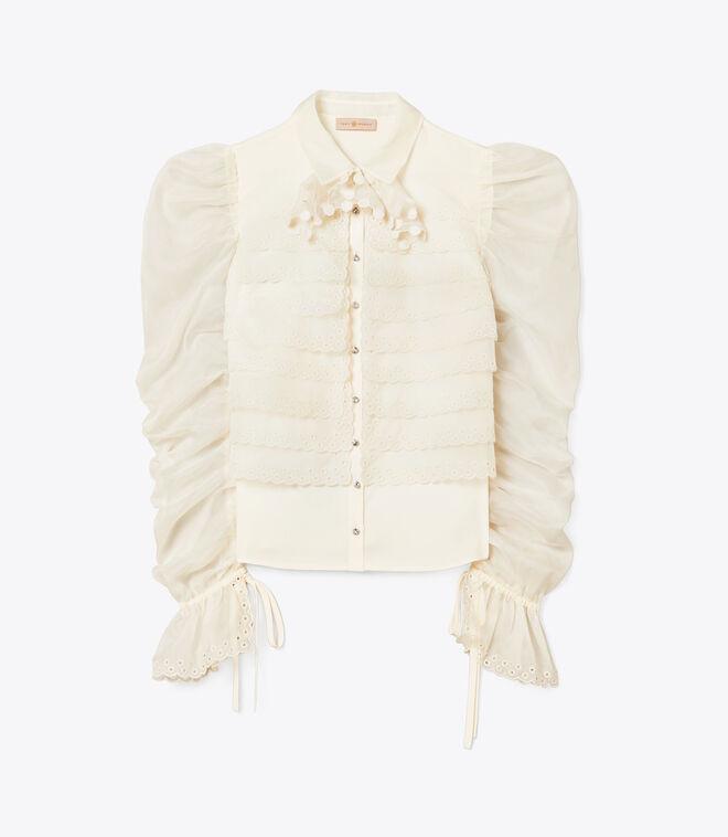 Layered Organza Gathered Sleeve Shirt | 104 | Blouses