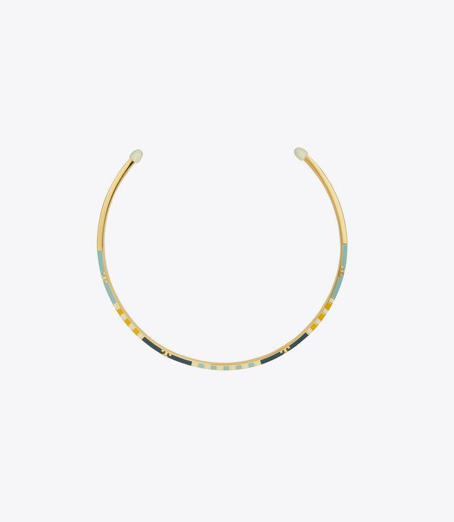 Serif-T Enamel Striped Collar Necklace