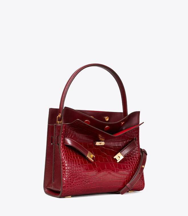 LEE RADZIWILL EMBOSSED SMALL DOUBLE BAG