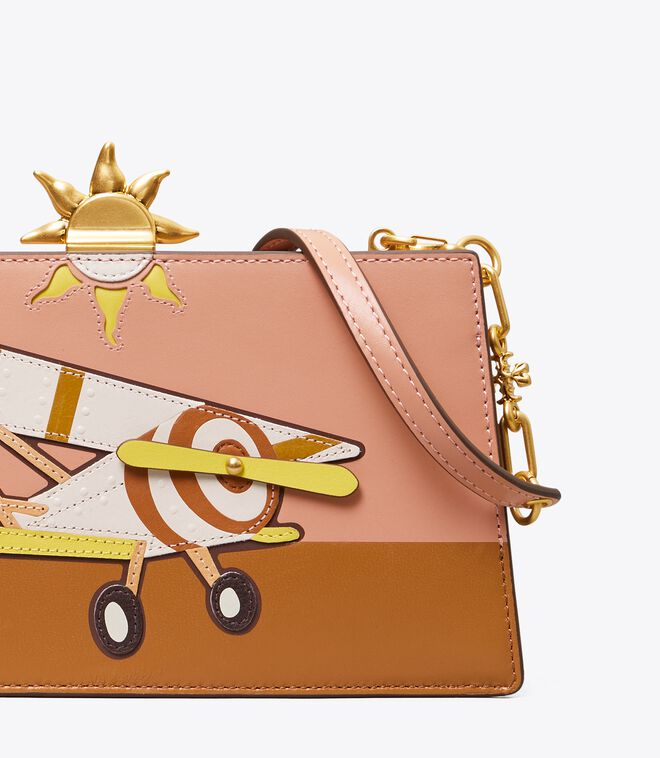 PLANE APPLIQUE FRAME MINI CROSSBODY