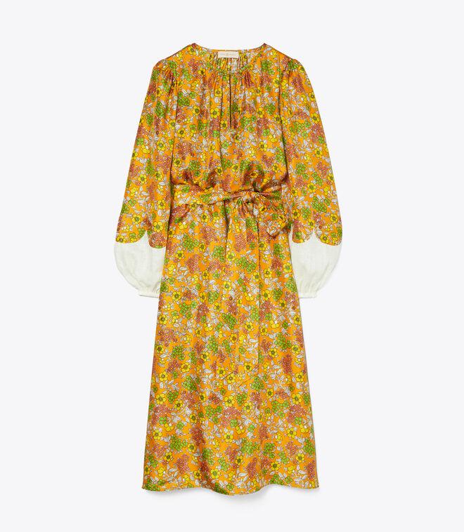WALLPAPER FLORAL SILK DRESS