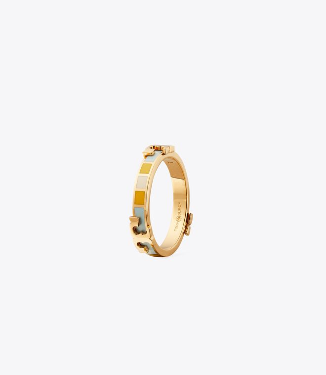 Serif-T Enamel Striped Stackable Ring