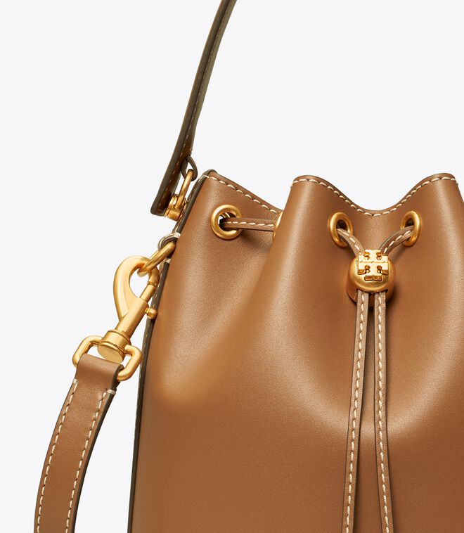 T MONOGRAM LEATHER BUCKET BAG
