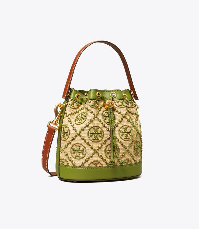 T Monogram Straw Bucket Bag